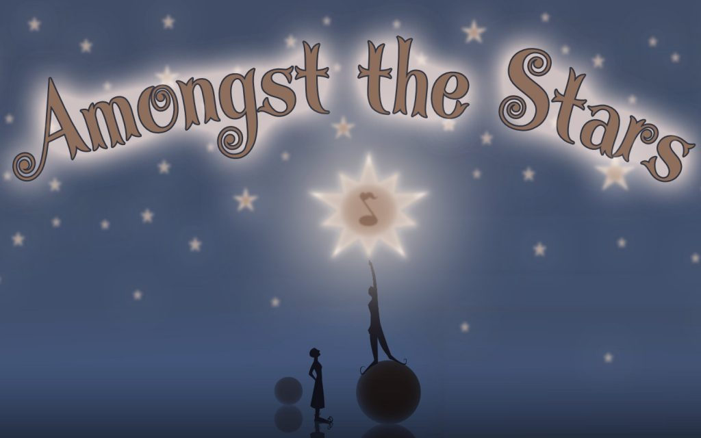 "A silhouette reaches towards a bright star with a quaver inside. On top, writing in the night sky says ""Amongst the Stars."""