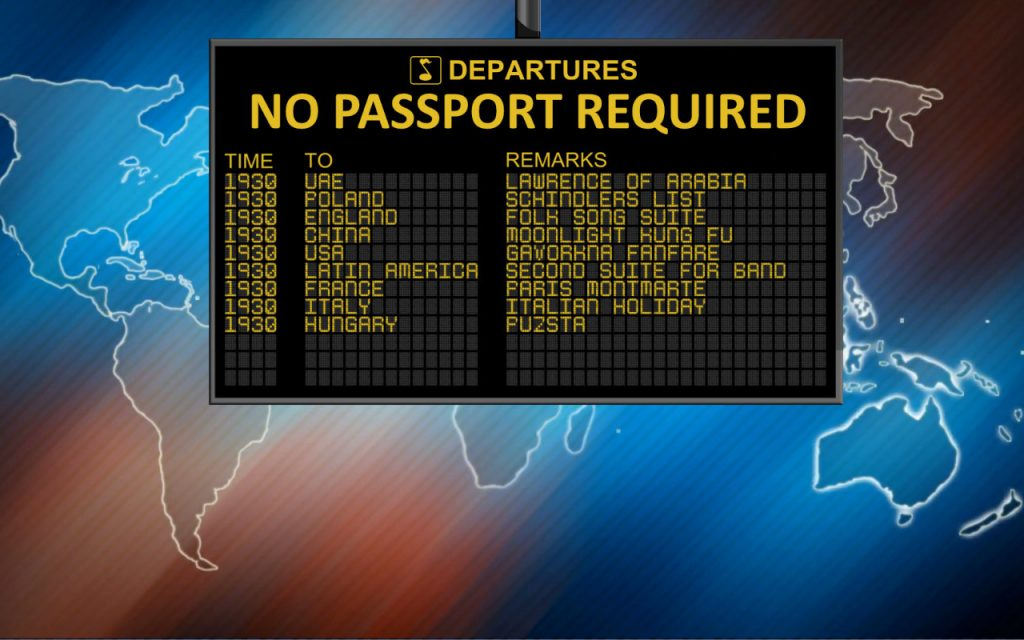 An airport departures sign. Text says: No Passport Required.