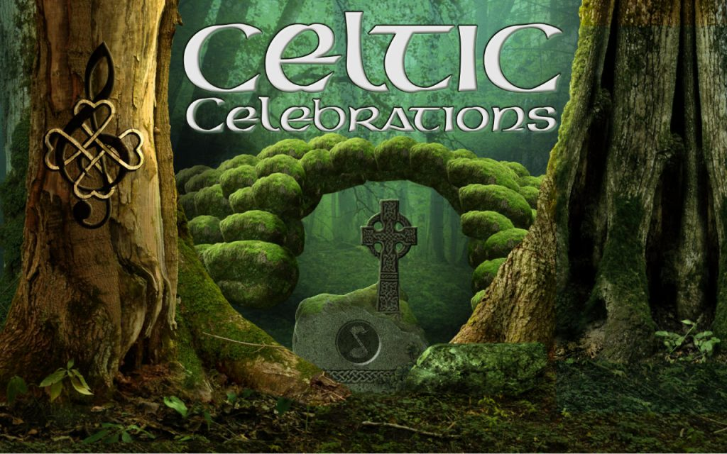 """A forest in scotland. Text says: """"Celtic Celebrations"""""""